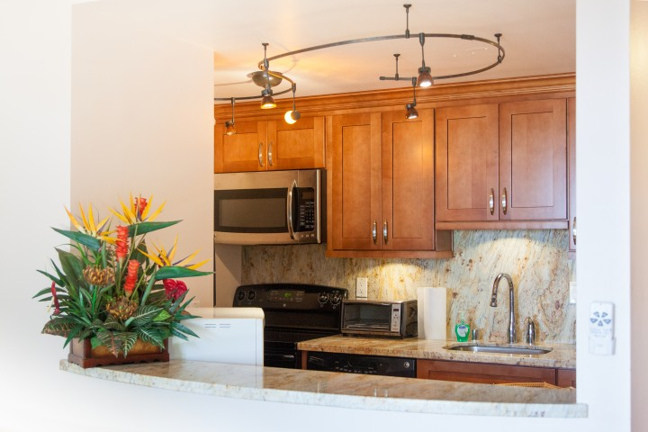 Newly renovated kitchen with Granite counter tops and stainless steel appliances